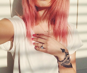 girl, pink hair, and grunge image