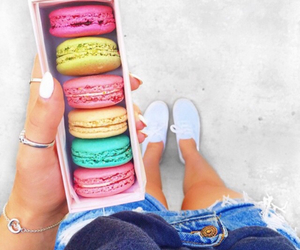 food, macaroons, and ‎macarons image