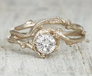 engagement ring, yellow gold, and white sapphire image