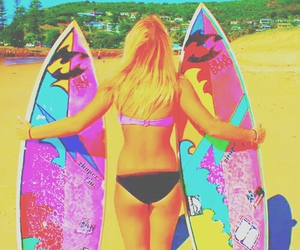 beach, summer, and surf boards image
