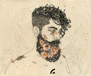 art, flowers, and beard image