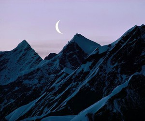 mountains, sky, and moon image