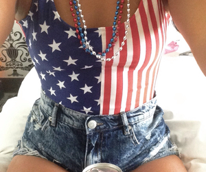 america, bathing suit, and beads image