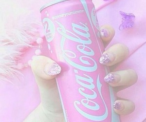 pink, coca cola, and nails image