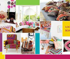 furniture, rugs, and colorful cushions image