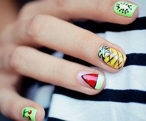 nails, fruit, and nail art image