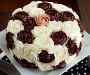 cake, chocolate, and rose image