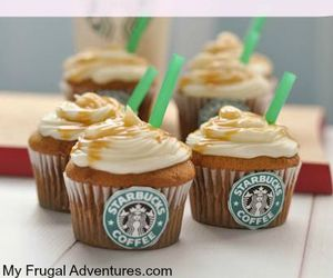 starbucks, cupcake, and coffee image