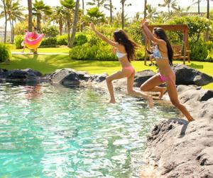 girls, nature, and swimming image
