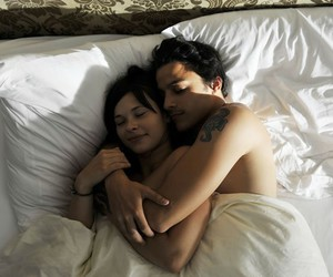 couple, cute, and bed image