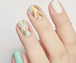 chevron, gold, and mint image