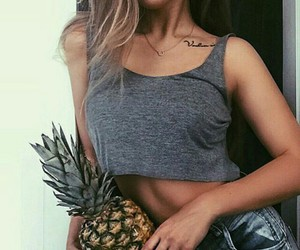 girl, fashion, and pineapple image