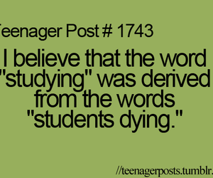 studying, teenager post, and dying image