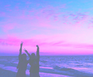 beach, purple, and sky image
