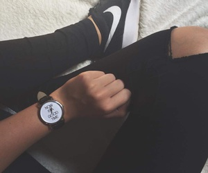 blackandwhite, nike, and watch image
