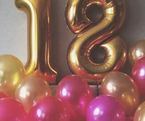 18, pink, and balloons image