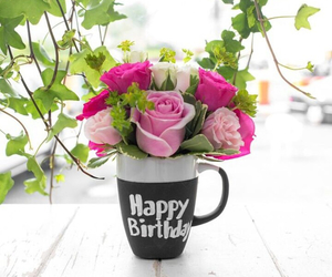 flowers, happy birthday, and pink image