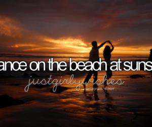 beach, sunset, and dance image