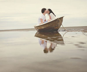 love, boat, and kiss image