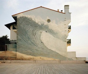 house, waves, and art image