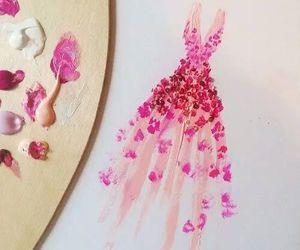 art, dress, and pink image
