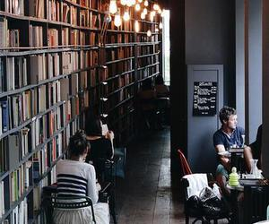 book, coffee, and library image
