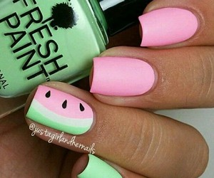 nails, watermelon, and beauty image