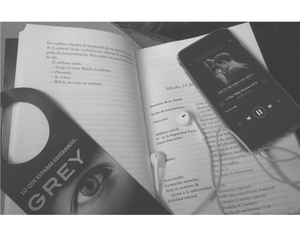 book, grey, and music image