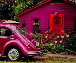 pink, car, and house image