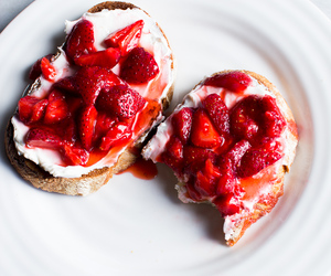 strawberry, food, and toast image