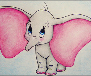 disney, drawing, and dumbo image
