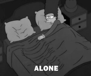 alone, simpsons, and black & white image
