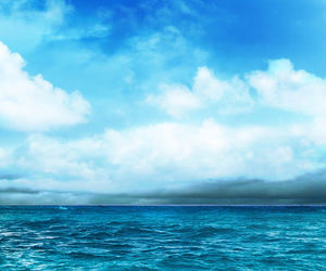 sea, blue, and clouds image