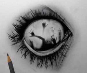 black and white, draw, and hands image