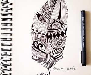 draw, feather, and art image
