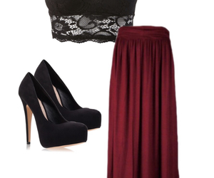 fashion, lace, and maxi skirt image