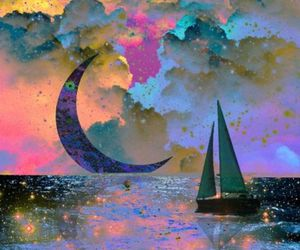 moon, art, and boat image