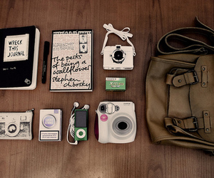 camera, bag, and book image