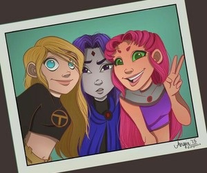 raven, teen titans, and starfire image
