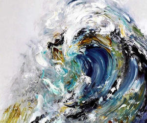 art, waves, and painting image
