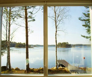 nature, window, and lake image