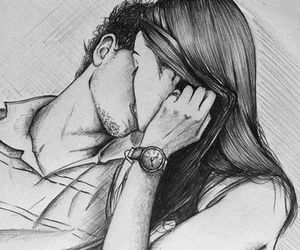black and white, couple, and dibujo image