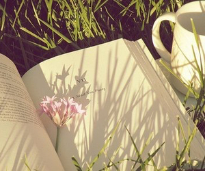 book, flowers, and cup image