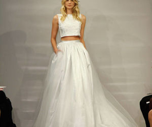 bride, wedding dress, and two piece image