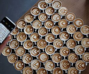 coffee, cups, and latte image