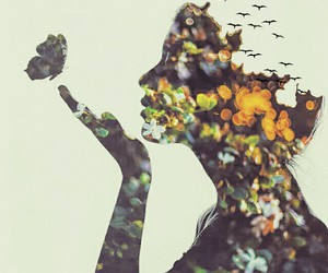 bird, double exposure, and fashion image