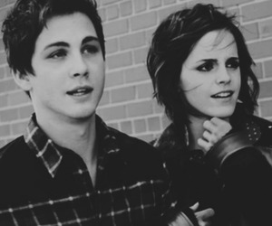 emma watson, logan lerman, and black and white image