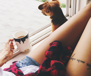 girl, dog, and tattoo image