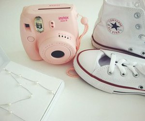 converse, pink, and polaroid image