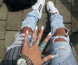 adidas, nails, and love image